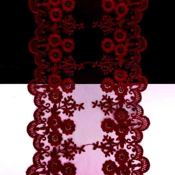Кружево бордовое на сетке 10,5-14 см