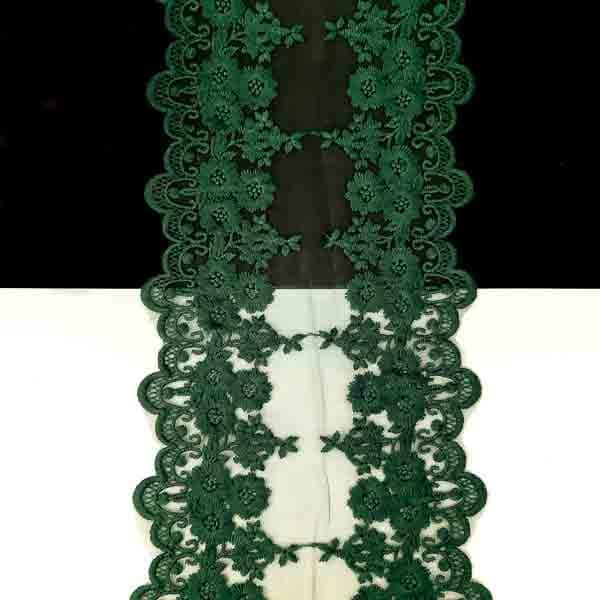 Кружево темно-зеленое на сетке 10,5-14 см