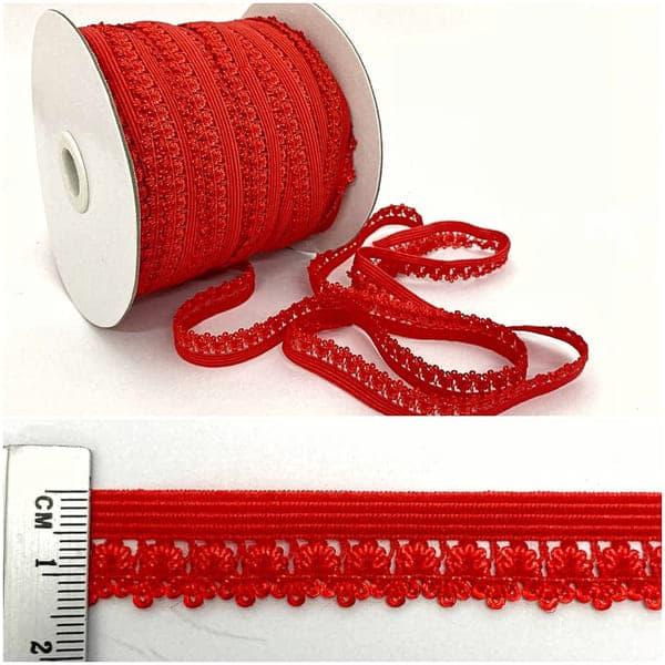 Резинка ажурная бельевая красная, 14 мм