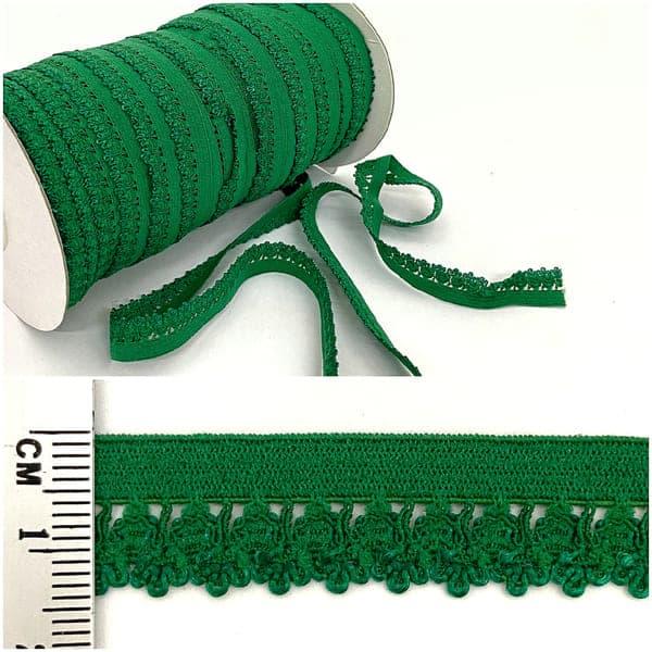 резинка ажурная бельевая зеленая, 16 мм