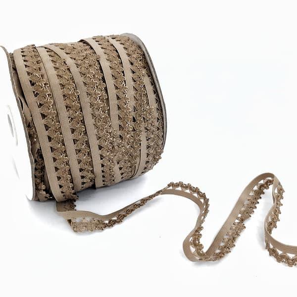 Резинка ажурная бельевая темно-бежевая, 14 мм