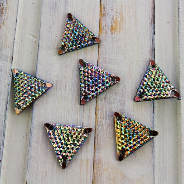 стразы акрил ч/осн АВ триугол с шагр 17х15 приш, персик, 50 шт