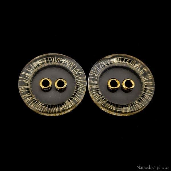 Пуговица прозрачная+золото, 18мм