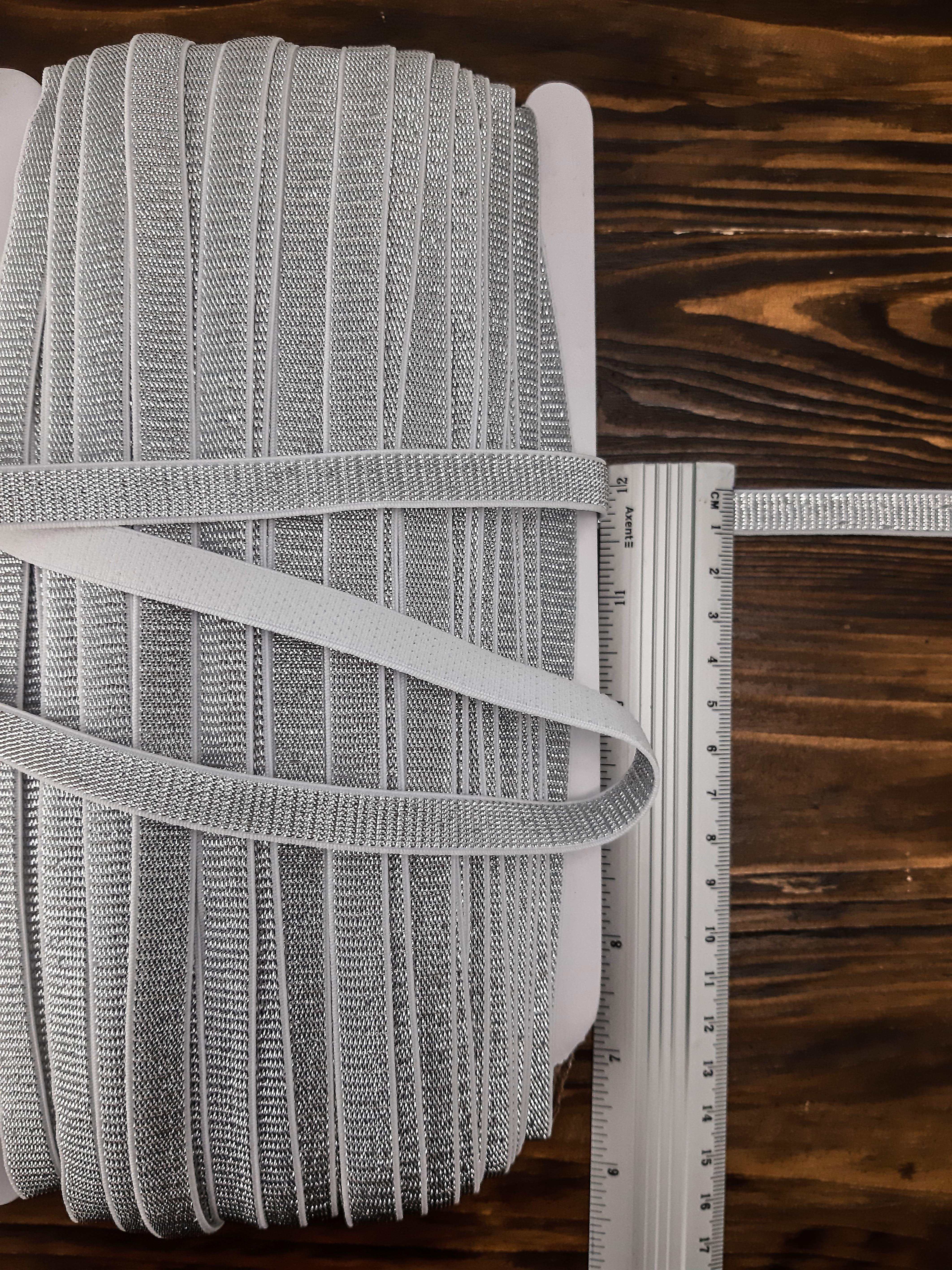 резинка для бретель 1 см (боб 45м) - люрикс бел+сер.^