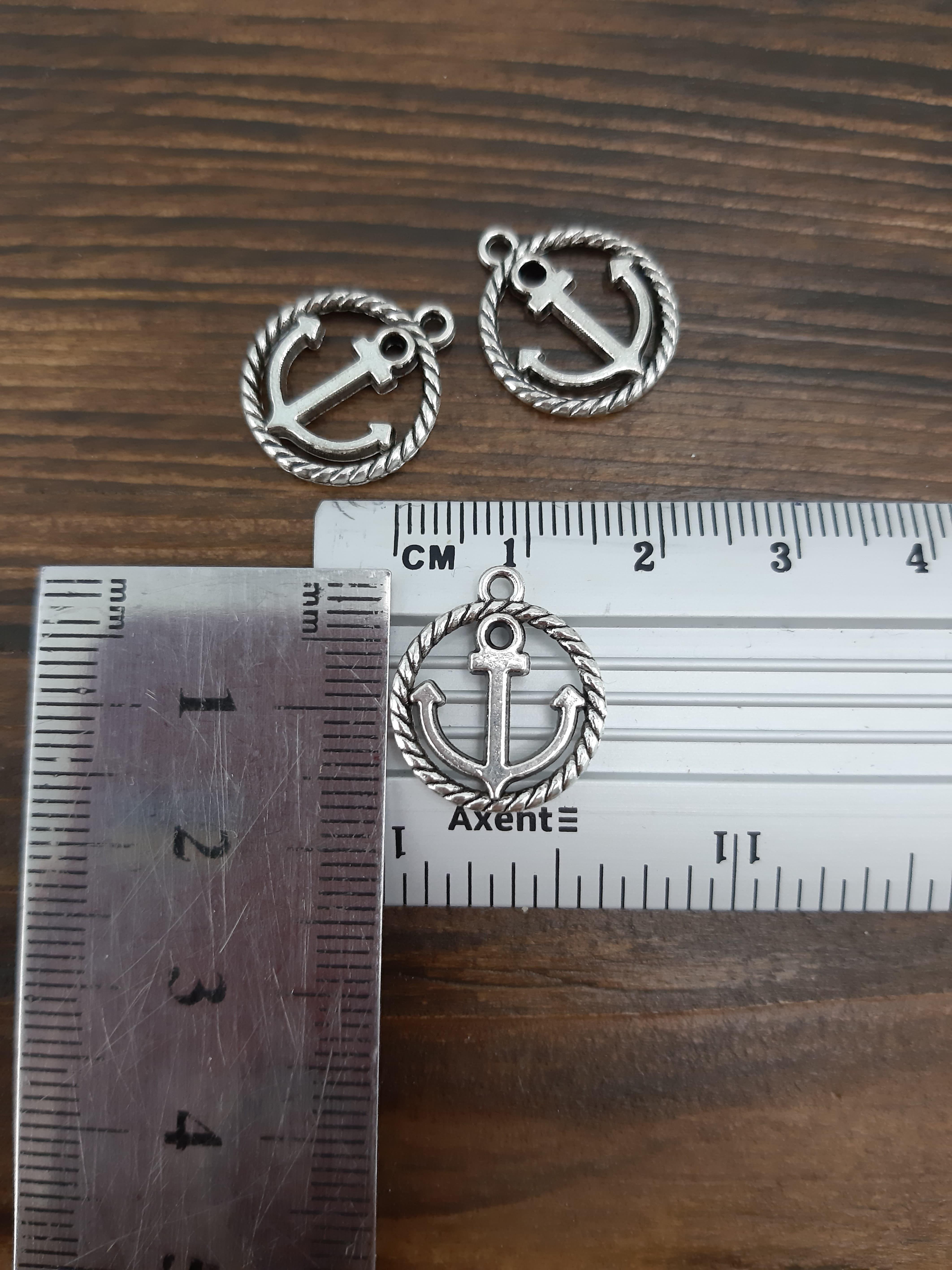 подвеска металл Якорь в кольце 16х18 мм, упак 25 шт