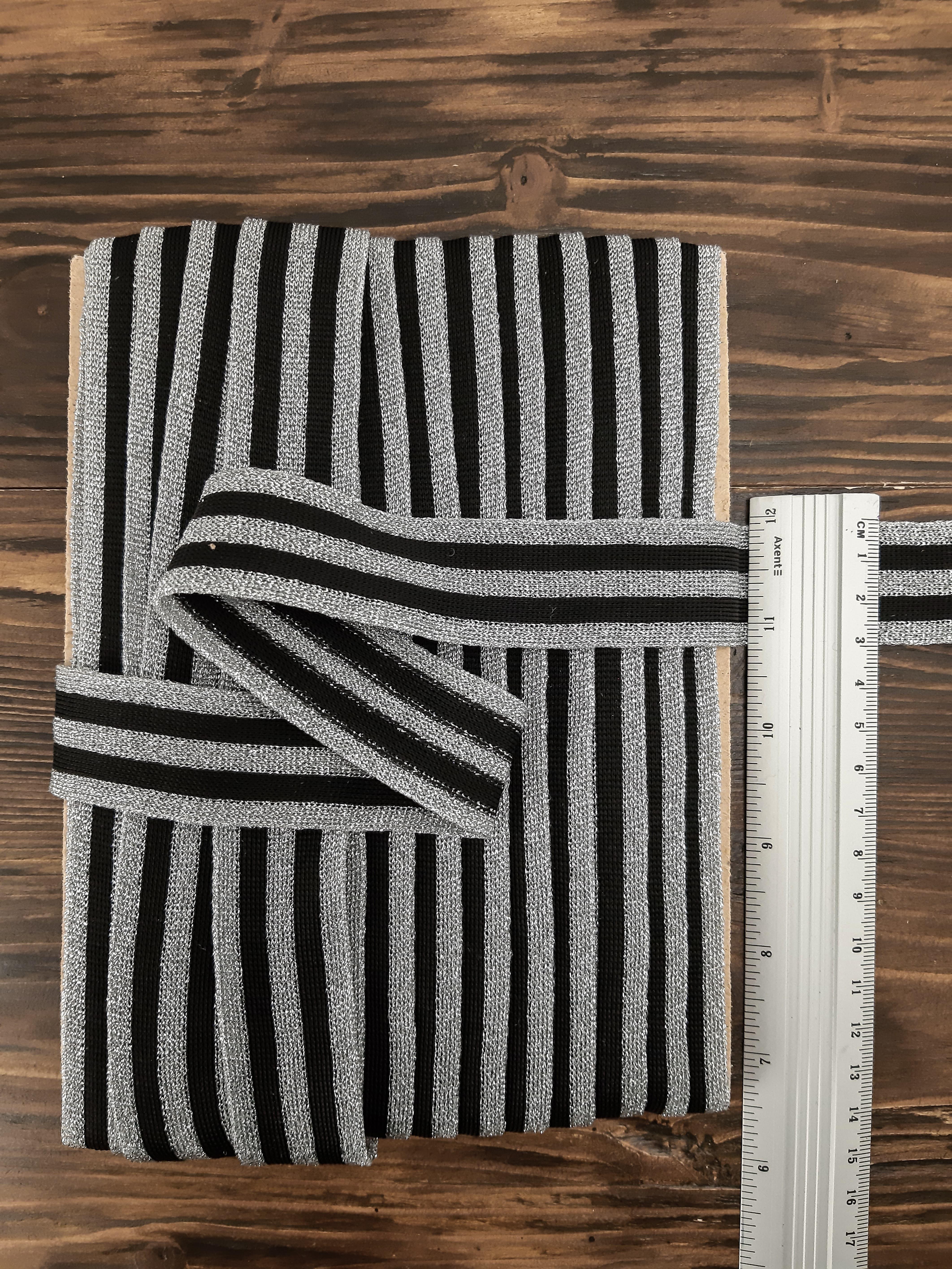 тесьма трикотажная с люрикс шир 3 см цвет черно-серебр