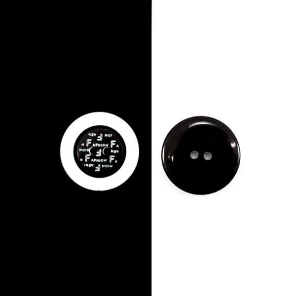 Пуговица черно-белая, 23 мм