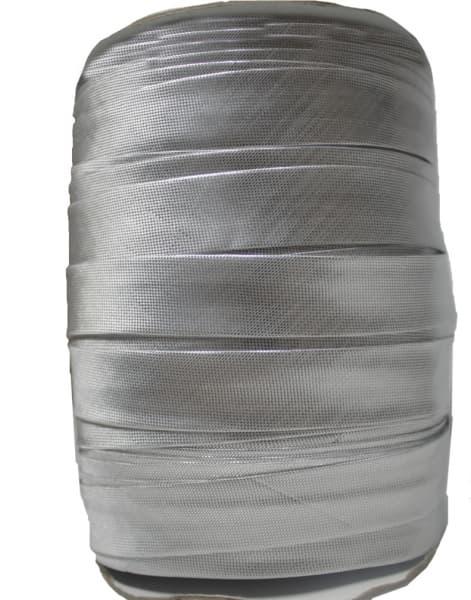Косая бейка из парчи, серебро, 15 мм