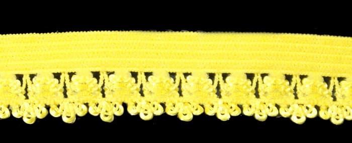 Резинка бельевая ажурная желтая,16 мм