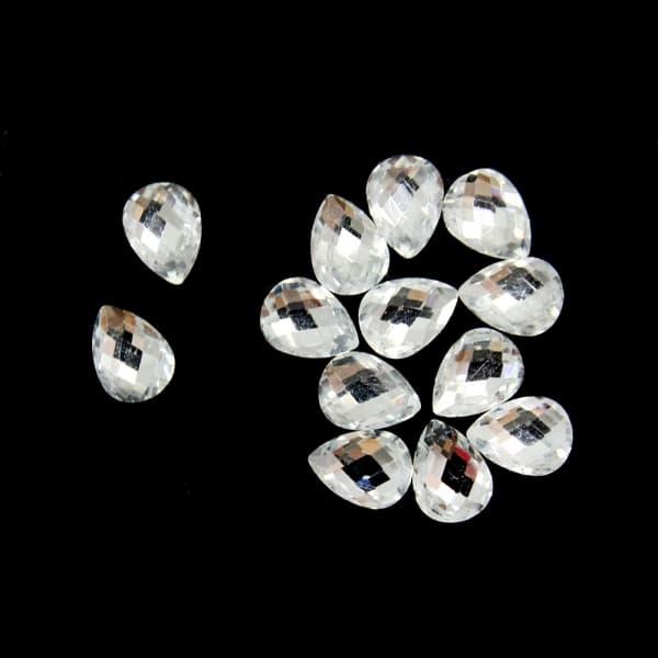 Стразы клеевые Drop белые, 6x8 мм