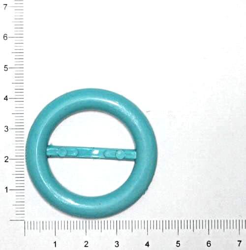 Пряжка круглая голубая, 28 мм