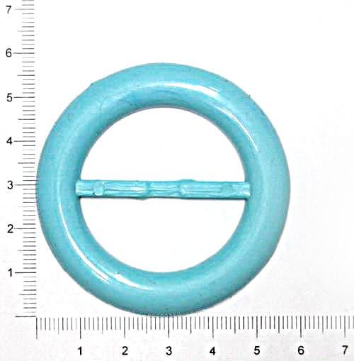 Пряжка круглая голубая, 38 мм