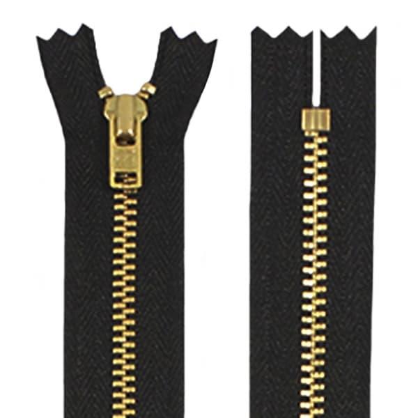 Молния YKK черная+золото, 18 см.