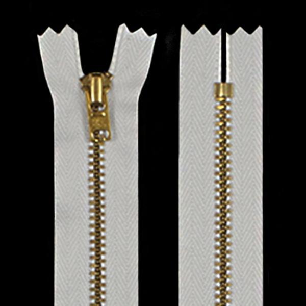 Молния YKK белая+золото, 18 см