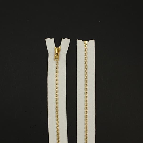 Молния YKK белая+золото, 80 см.