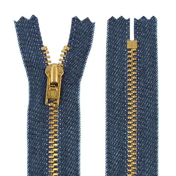Молния YKK джинс+золото, 25 см