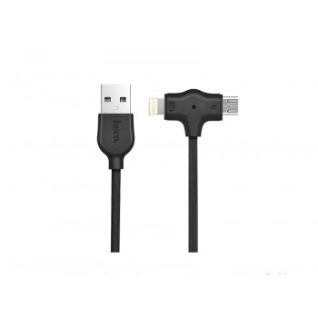 "USB cable HOCO X10 starfish ""lightning+micro"" Fast Charging cable 1m black"