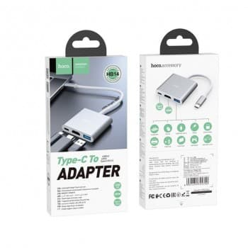 Adapteris HOCO HB14 type-C uz (USB 3.0, HDMI, PD) sudraba