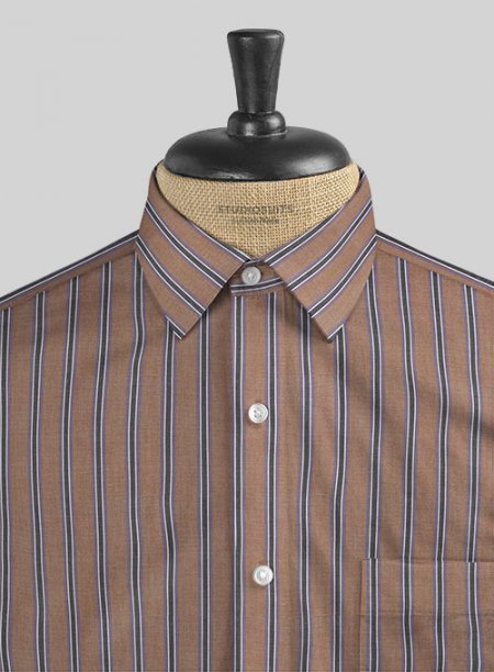 Italian Old Shuttle Loom Brick Brown Stripe Shirt