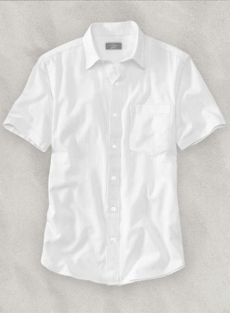 White Self Design Shirt