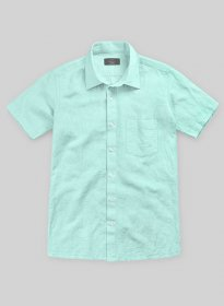 Washed Light Blue Cotton Linen Shirt