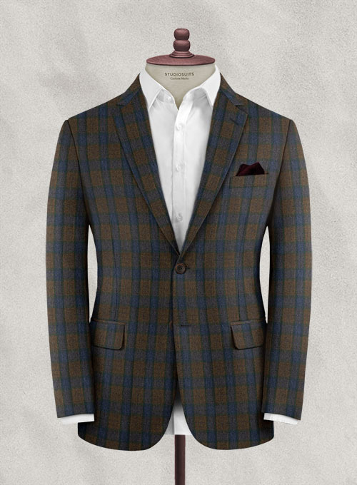 Italian Wool Cashmere Orsoto Checks Jacket