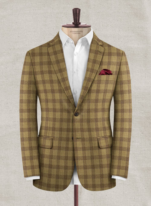 Italian Wool Cashmere Tarzzo Khaki Checks Jacket