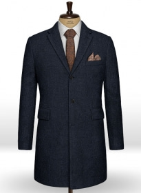 Deep Blue Herringbone Tweed Overcoat
