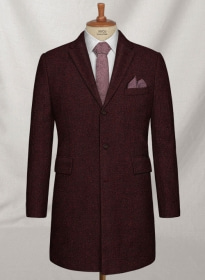 Light Weight Melange Wine Tweed Overcoat
