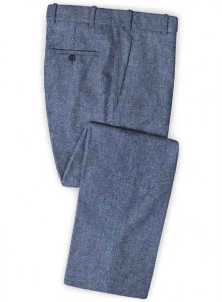 Classic Blue Denim Tweed Pants