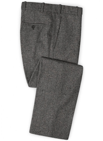 Gray Herringbone Flecks Donegal Tweed Pants