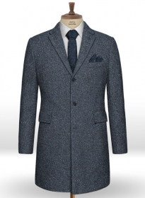 Arc Blue Herringbone Flecks Donegal Tweed Overcoat