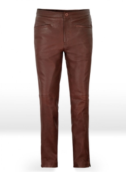 Soft Fermented Burgundy Zoey Leather Pants
