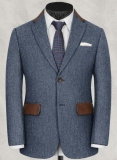 Vintage Herringbone Blue Tweed Jacket - Leather Trims