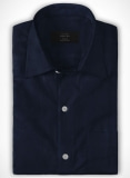 Navy Herringbone Cotton Shirt