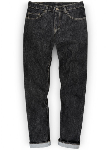 Cross Hatch Black Jeans - Hard Wash