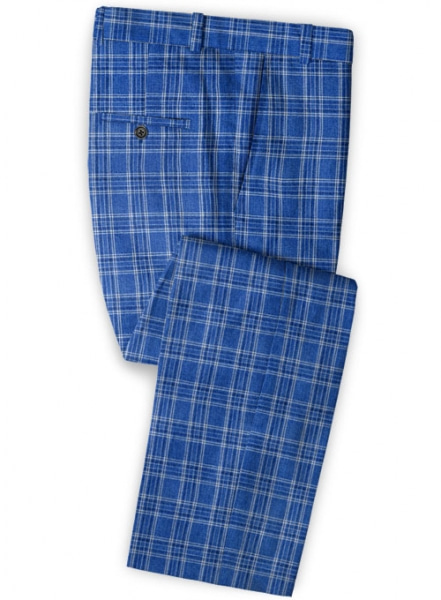 Solbiati Blue Square Linen Pants