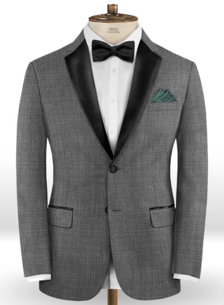 Napolean Sharkskin Gray Wool Tuxedo Jacket