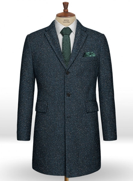 Robin Blue Flecks Donegal Tweed Overcoat