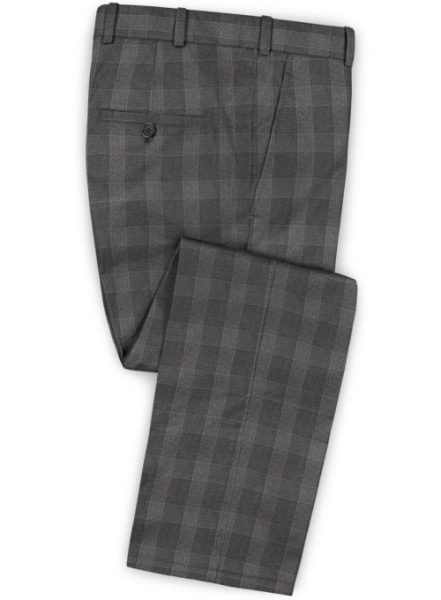 Charcoal Mont Checks Flannel Wool Pants