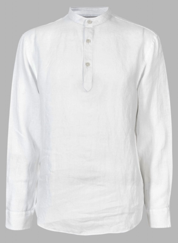 Linen Chinese Collar Polo Shirts