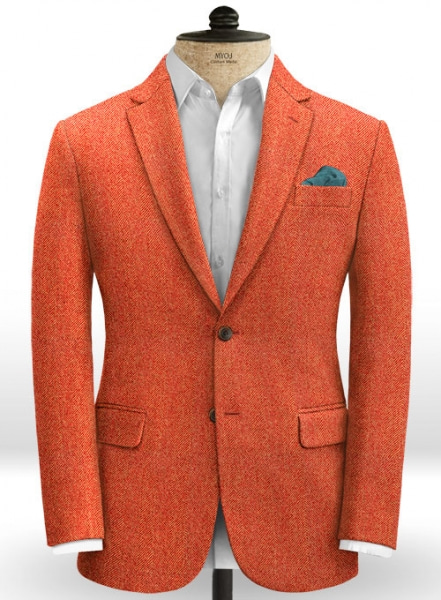 Italian Wide Herringbone Fire Tweed Jacket