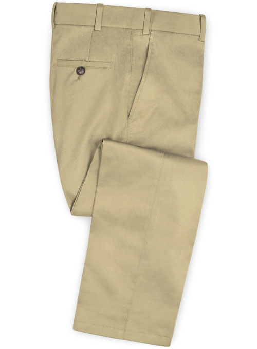 Beige Feather Cotton Canvas Stretch Pants