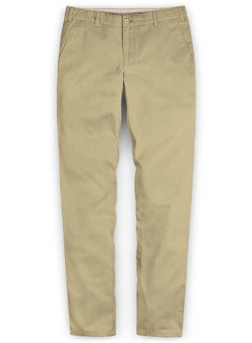 Beige Feather Cotton Canvas Stretch Chino Pants