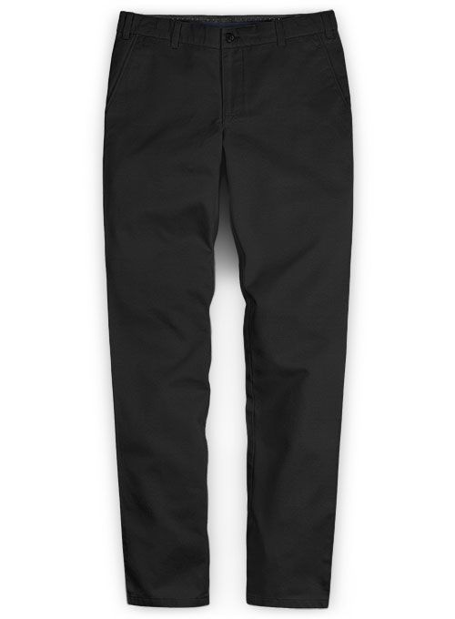 Black Feather Cotton Canvas Stretch Chino Pants