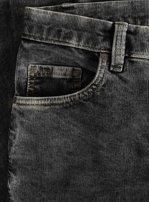 Slate Black Corduroy Stretch Jeans - Blast Wash
