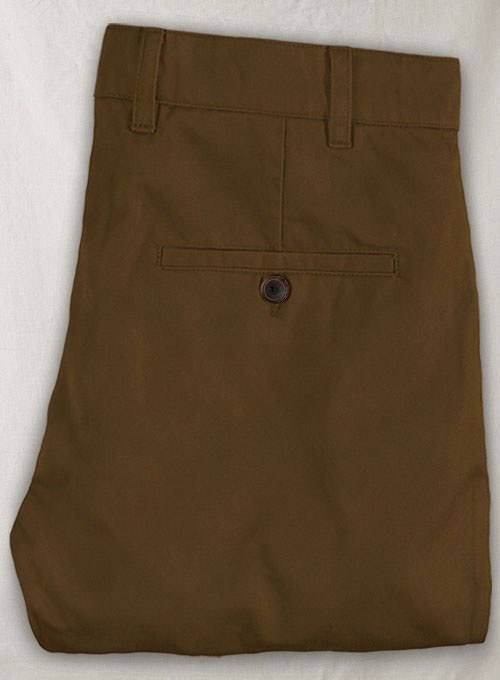 Brown Feather Cotton Canvas Stretch Pants