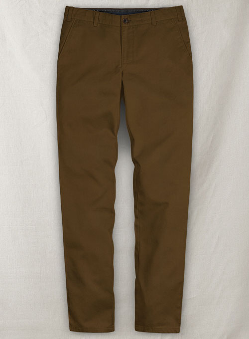 Brown Feather Cotton Canvas Stretch Chino Pants