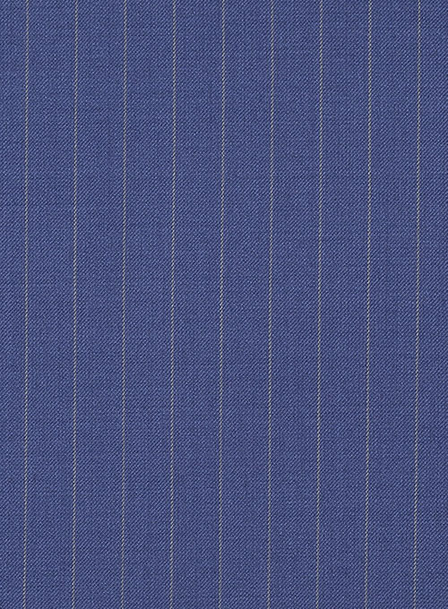 Chalkstripe Wool Royal Blue Pants