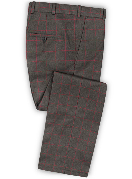 Charcoal Red Windowpane Flannel Wool Pants